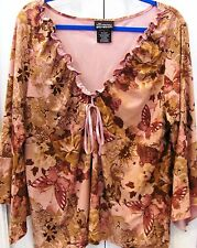 NO BOUNDARIES STRETCH Plus 3X Tan Floral Pullover Blouse-3/4 Sleeves