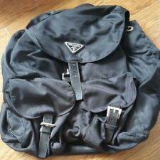 PRADA Logos Nylon Drawstring Backpack Bag BLACK Used