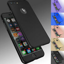 For iPhone 8 6S 7 Plus SE X XS Ultra Thin Slim Hard Case Cover+ Tempered Glass