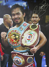 Manny Pacquiao Signed 19x25 Mounted Canvas Photo - Global Authentics