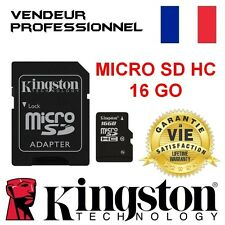 CARTE MICRO SD HC 16 GO KINGSTON 100 % AUTHENTIQUE GARANTIE A VIE 16Go 16 GB