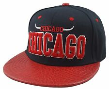 NEW CHICAGO SNAKE SKIN FLAT BILL SNAPBACK CAP HAT 3D EMBROIDERY BULLS BLACK/RED