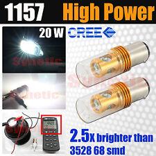 2x 1157 High Power 20W Cree Chip 6000K White Turn Signal Parking LED Light Bulbs