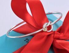 """Tiffany & Co 18 Kt Gold & Sterling Silver Love Knot Hook Bangle Bracelet 7"""""""