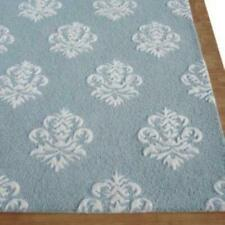 Damask Light Blue Color Floral Loop & Cut Hand Tufted Modern Style Woolen Area R