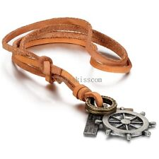 Black Silver Pirate Rudder Pendant Necklace Brown Adjustable Leather Cord Chain