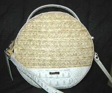Brahmin Lane Pearl Mantle Straw Leather Round Canteen Crossbody Handbag NWT $275