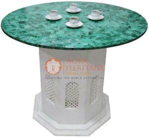 4'x4' Marble White Coffee Table Malachite Gemstone Patio Art Christmas Gift Deco