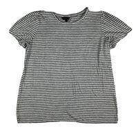 Banana Republic Women Large T Shirt Tee Top Stripe Short Sleeve White Gray