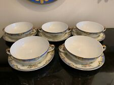 Noritake Vintage and Discontinued Casino 5 Flat Cream Soup Bowls and Saucers