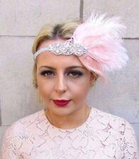 Blush Light Pink Silver Feather Headpiece 1920s Headband Great Gatsby Vtg 4250