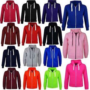 Kids Boys Girls Unisex Plain Fleece Hoodie Zip Up Style Zipper Age 2-13 Year
