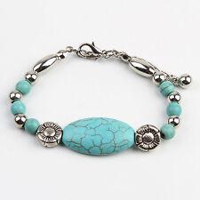 New Tibetan Silver Turquoise Blue Bracelet Handmade Boho Ethnic Gift