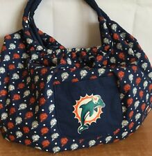 Miami Dolphins Handbag Tote Bag Shoulder XLarge Satchel NFL Blue Multiple Logos