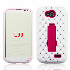 NEW FOR LG Optimus L90 / D415 PINK WHITE DIAMOND STAND COVER CASE + SCREEN FILM