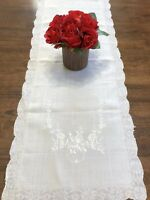"""Vintage Pina Linen Floral Whitework Embroidery 16x42"""" Table Runner (RF951-3)"""