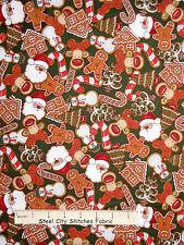 Christmas Fabric - Gingerbread Santa Deer Cookie Green RJR Holly Jolly 1.3 Yards