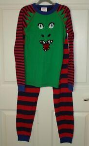 Boy's Hanna Andersson Long Johns Stripes Monster Applique Size 160/12-14
