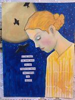 Original Painting Woman Mixed Media Moon Expressionism