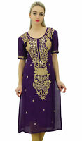 Bimba Womens Designer Embroidered Kurta Kurti Indian Long Tunic Blouse - Purple