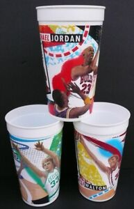 Lot (3) 1993 McDonalds NBA Finals Cups Larry Bird Michael Jordan Bill Walton