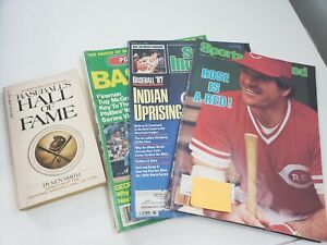 Baseball Paperback Book Hall Of Fame & Lot of 3 Vintage Magazines 1980's