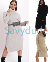 Womens Ladies Knitted Polo Neck Side Slit Long Sleeve Midi Party Dress Jumper