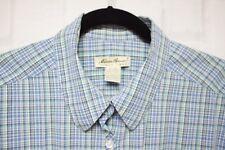 Eddie Bauer, 100% Cotton Buttondown Shirt, XXL, Blue/Green Plaid,