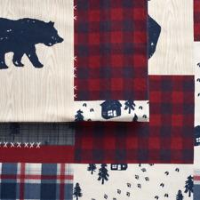 Cuddl Duds Lodge Patchwork Cabin Flannel Bear Moose Sheet Set Queen Size