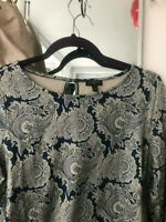 Talbots Top Size PM Petites TEAL  Paisley Knit Shirt LONG  Sleeve RUCHED Blouse