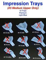 Dental Disposable Impression Trays size #3 Medium Upper Only - 12 trays per bag