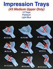 Dental Disposable Impression Trays Size 3 Medium Upper Only 12 Trays Per Bag