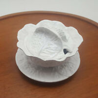 Bordallo Pinheiro Portugal White Cabbage Sugar Bowl With Lid & Under Plate