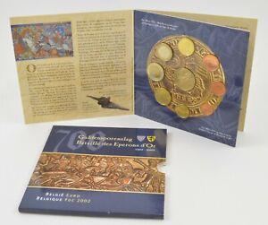 2002 Belgium 9 Coin BU Euro Set Battle Of The Golden Spurs Display Booklet *711