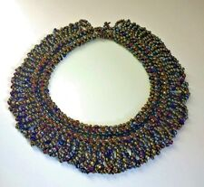Beautiful Vintage 1970s Beaded Collar Necklace Carnival Glass Bridal Party 167g