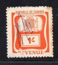 1964 Zambia Bft:4 1/- Orange .Very Scarce Revenue.
