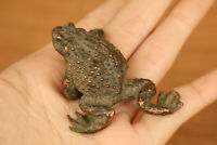old bronze hand casting fortune frog statue netsuke jin chan tray decoration