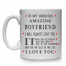 NEW TO MY GORGEOUS AMAZING BOYFRIEND GIFT MUG CUP WEDDING  PRESENT BIRTHDAY