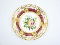 Antique 19th Century Hand Painted Gold Gilded Peach Decorative Plate