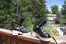 NWT Jeffrey Campbell Battle Black Patent Leather White Soles Funky Shoes Camo 7M