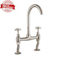 Kitchen Sink Bridge Mixer Tap Cross Head Handle Traditional Brushed Steel Finish