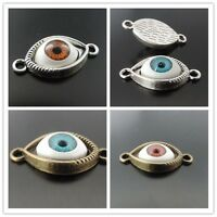 25X Bronze and Silver Tone Evil Eye Series Pendant Charms Findings 30*15*7mm