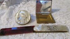 Vintage Compact, Comb and Mirror for Lipstick Set Flowers on Top