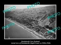 OLD POSTCARD SIZE PHOTO OF PAEKAKARIKI NEW ZEALAND AERIAL VIEW OF TOWN 1930