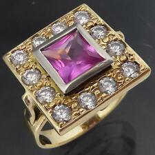 DRAMATIC Statement Solid 9k GOLD PINK SAPPHIRE & 12 CUBIC ZIRCONIA RING Sz K1/2