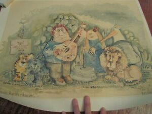 Vintage unframed Nedobeck Watercolor Art Print Music Hath Charms signed