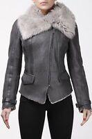 Ladies Short Biker Real Shearling Sheepskin Aviator Toscana Flying Jacket Grey