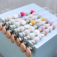 Safely Pacifier Chain Clip Crochet Wood Beads Beech Baby Teething Soother Holder