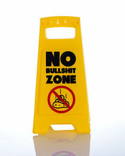 NO BULLS**T ZONE DESK SIGN Yellow 25cm fun office gift New