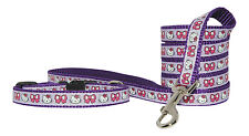 "purple hello kitty small dog puppy   8-12""  collar and  lead 1/2"